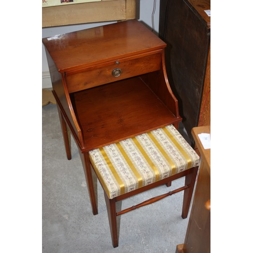 37 - Yew Wood Telephone Table with Brushing Slide and Integral Regency Striped Upholstered Stool...