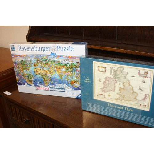 43 - Jigsaw Puzzles:  1 x 1000 Pieces of a Map and 1 x 2000 Pieces - Ravensburger Map...