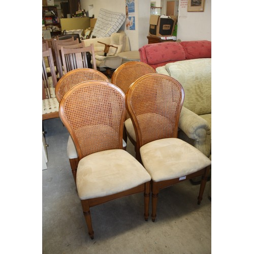 27 - Four Wallis and Gambier Single Bergere  Dining Chairs on Turned Legs...