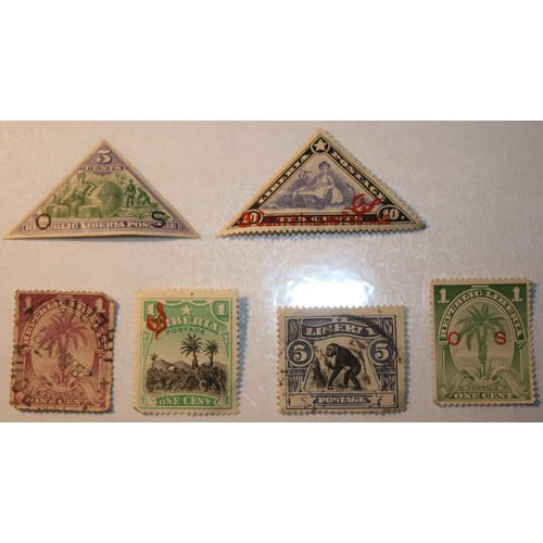 2 - Six 19th Century and early 20th Century Liberian Stamps: 1901 5 Cents Official Triangular Stamp in P...