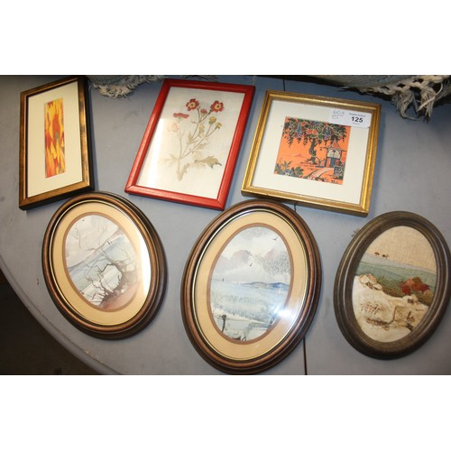 19 - Assorted Small Framed  Embroideries, Textured Crafts and Watercolours (Six)...