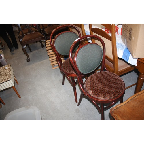 21 - Two Upholstered Bentwood Dining Chairs...