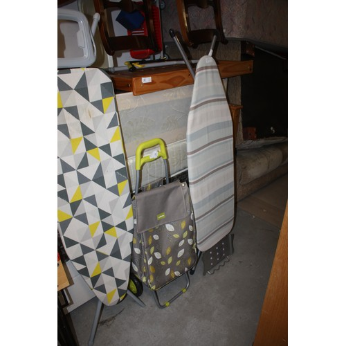 32 - Sabitchi Shopping Trolley Plus an Minky Ironing Board Plus an Ikea Uplighter approx 6' High...