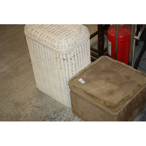 35 - White Wicker Laundry Basket,  and a Padded Footstool/Box...