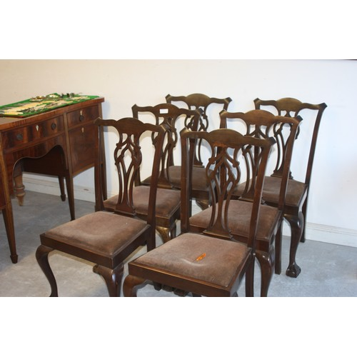 38 - Six Victorian Dining Chairs with Shaped Splats on Cabriole Legs terminating in Ball and Claw Feet...