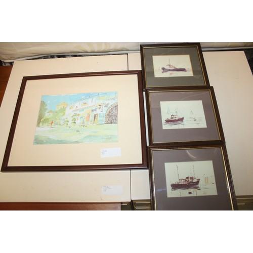 39 - Print of the Bullring and Church, Mijas, Spain by Richard Wood, Plus Three Liverpool Nautical Prints...