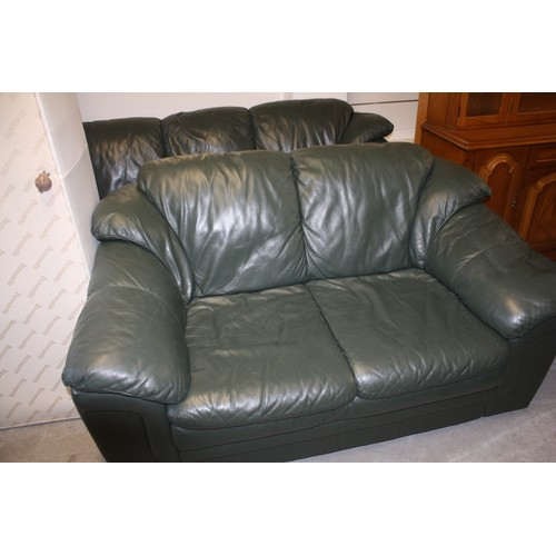 52 - Two Green Leather Sofas (one Three Seater and One Two Seater)