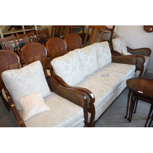 56 - Three Piece Bergere Lounge/Salon Suite comprising Sofa, Two Armchairs...