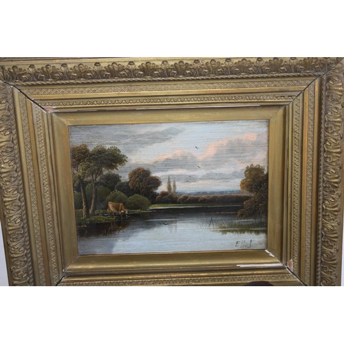 57 - Matching Pair of Oil Paintings by Etty Horton (1882-1905) in a Gilt Frame (Frame slightly distressed...