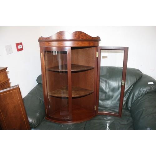 58 - Mahogany Glazed Hanging Corner Cabinet (with Key) - Measurement Corner to Front Edge 16.5