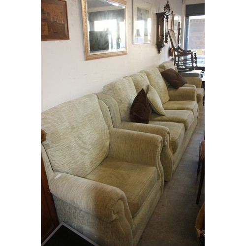 64 - Three Piece Lounge Suite (Three-Seater 190cm Wide Plus Two Chairs) in a Cream/Pale Green Upholstery...