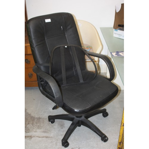 35 - Black Leather Upholstered Single Pedestal Office Chair with adjustable Back Rest