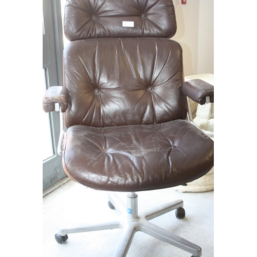 20 - Brown Leather Seated Designer High-Back Office Chair by Reading Chair and Desks