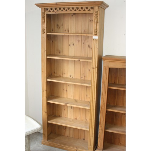 22 - Six Shelf Pine Bookcase with Applique Moldings 32.5