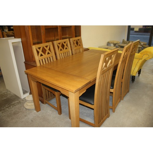 4 - Blockwood Oblong Dining Table and Six Chairs - 6' x 3'3