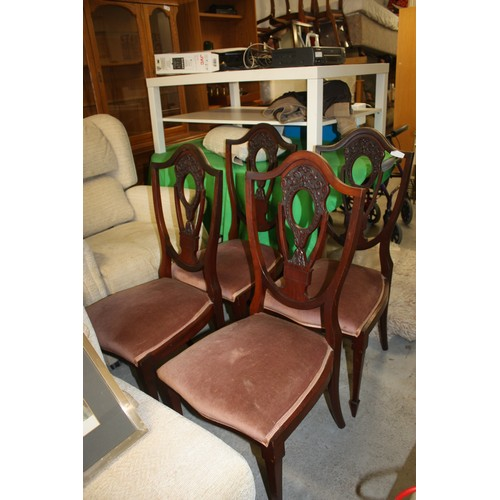 7 - Four Ornately Carved Shield-Back Dining Chairs with Velour Upholstered  Seats