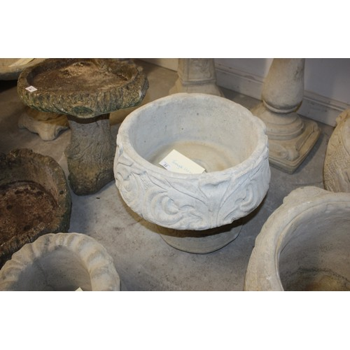 16 - Single Cast Concrete Decorative Urn