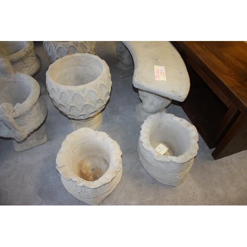 18 - Pair of Cast Concrete Large Sack Shaped Planters