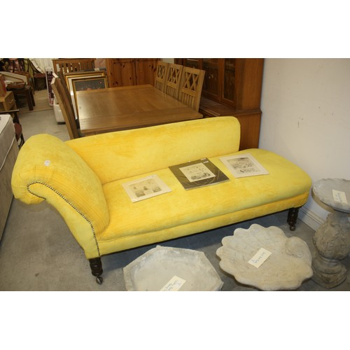 27 - Chaise Longue Upholstered in a Yellow Fabric