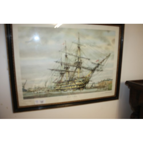 39 - Framed Print and Mounted Under Glass of HMS Victory by A Nikolsky  25