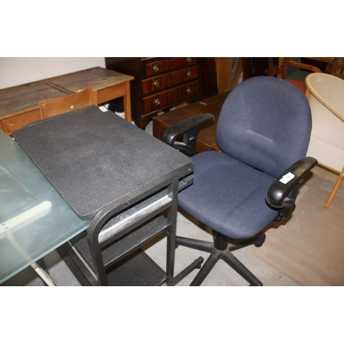 41 - Metal Framed Computer Table with Keyboard Slide on Casters Plus a Five-Branch Single Pedestal Office...