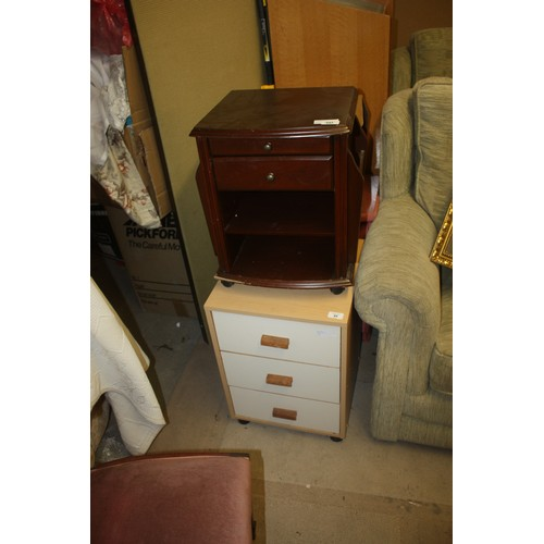 50 - Two Three-Drawer Bedside Chests (one Coated in a Dusted Pink Fabric) Plus a Small Chest on Casters (...