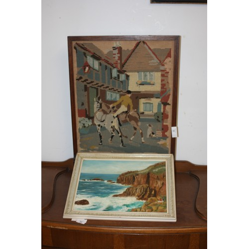 32 - Fire Screen depicting a Hunter and Dog Plus a Framed Oil of a Coastal Scene by R Davies