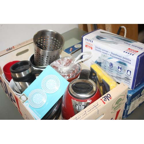 36 - Two Boxes of Assorted Kitchenware including Kettle, Two Irons, Jug, Teapot, Stainless Steel Travel M...