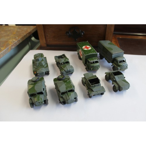 8 - Eight Dinky Toys Army Vehicle including Bedford Truck, Ambulance, Field Tractor etc. (all p/w)