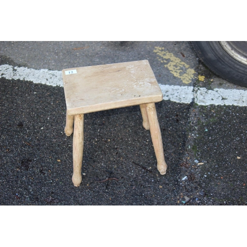 12 - ANTIQUE ELM STOOL 30CM X 22CM X 33CM...
