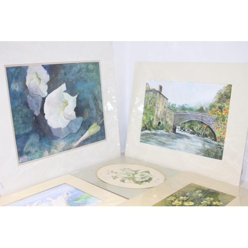 48 - 6 X ASSORTED UNFRAMED WATERCOLOURS LARGEST 49CM X 43CM...