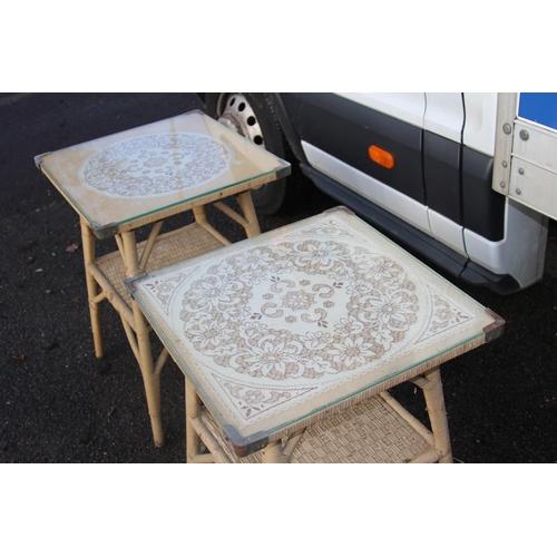 5 - PAIR OF LOOM TABLES 51CM X 51CM X 72CM...