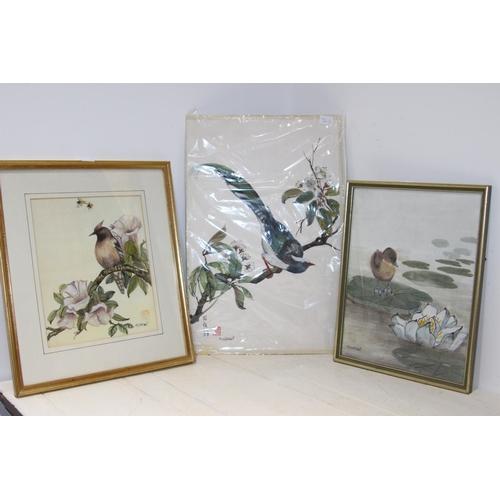 56 - 3 X WATERCOLOURS OF BIRDS BY MJ STEWART...