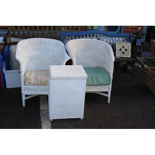 8 - 3 X LLOYD LOOM PIECES 2 X CHAIRS AND LINEN BASKET...