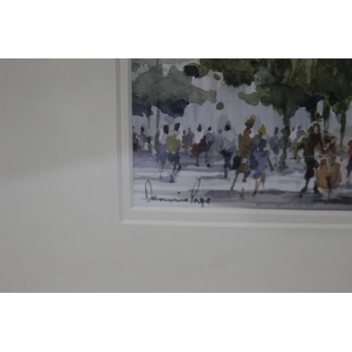 53 - WATERCOLOUR BUSKING AT THE SORBONNE PARIS BY DENNIS PAGE 41 X 38CM...