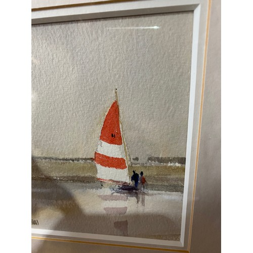 33 - WATERCOLOUR RED SAIL BY PETER TOMS  31CM X 29CM...