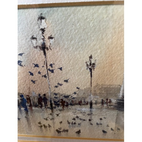 32 - WATERCOLOUR PICCIONI SAL MOLO BY PETER TOMS 37CM X 32CM...