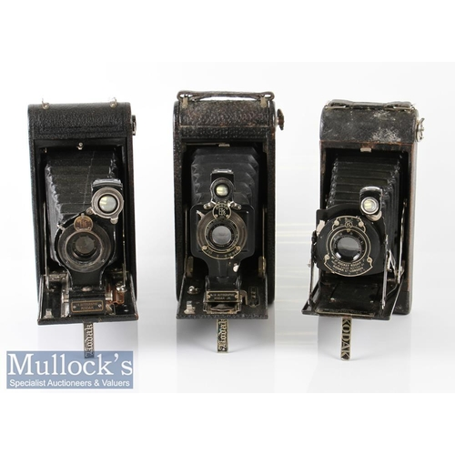 29 - 3x Kodak folding cameras to include No 1A Autographic Junior marked 13338 and 13662, 1A Autographic ...