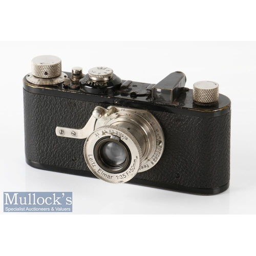 23 - 1929 Leica I 20721 camera with Leitz Elmar 1:3,5 f=50mm lens appears with age related wear, with mak...