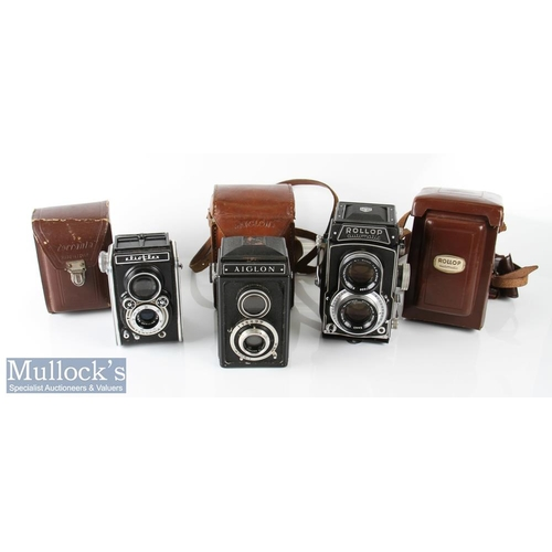 25 - Rollop Automatic TLR camera Enna Werk 1:2,8 f=80mm with leather case and lens cap, plus Aiglon TLR c...