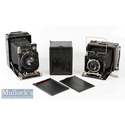35 - Voigtlander Berghell folding camera with 1:4,5 f=15cm No639273 Heliar lens, compur shutter, plus an ...