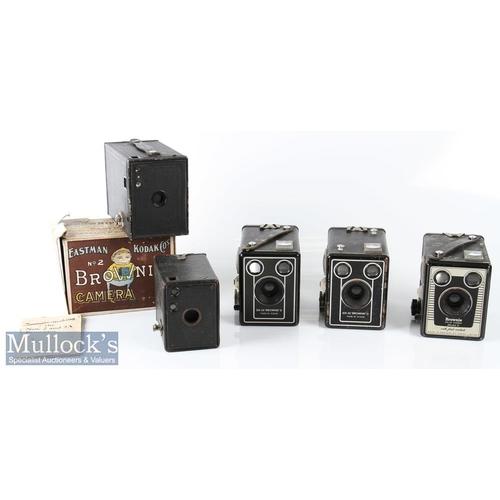 41 - Kodak No2 Brownie box camera made in Canada with original maker's card box plus a No 0 Brownie camer...