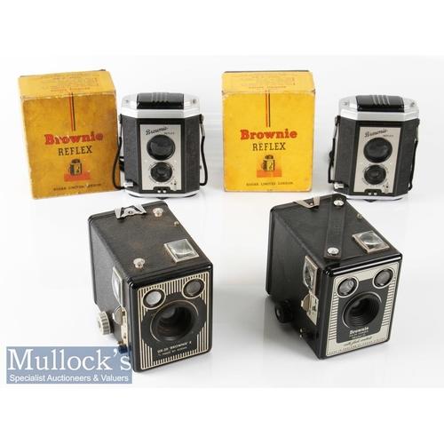 43 - Kodak Brownie Reflex TLR Box Rollfilm Cameras with maker's original boxes plus a six-20 Brownie E an...