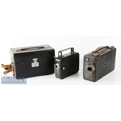 48 - Cine Kodak Model B camera 16mm film numbered 31511 to label, leather exterior, measuring 21x13x7cm a...