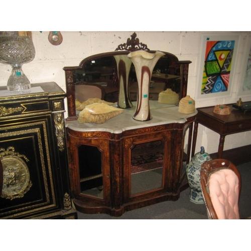 423 - Victorian Walnut Inlaid Chiffonier with Serpentine...