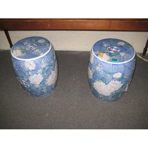 494 - Pair of Blue Porcelain Garden or Wet Room Seats...