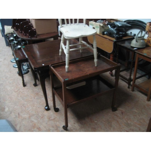 110 - Vintage Oak Hostess Trolley and a White Painted...