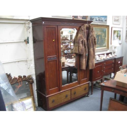 125 - Edwardian Mahogany Mirrordoor Wardrobe...