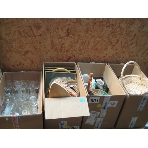 13 - 4 Boxes of Various including Glassware, etc...