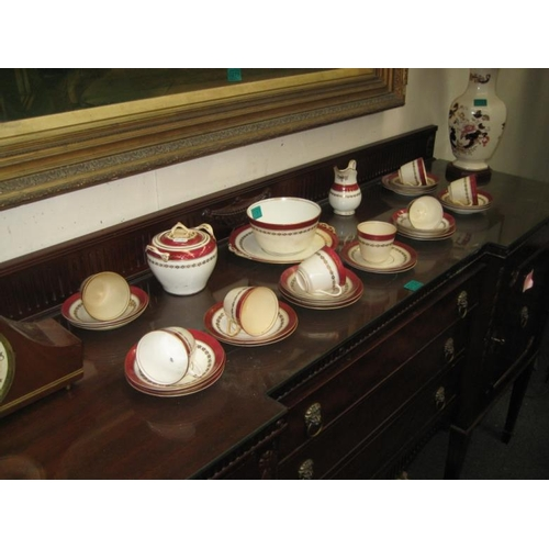 131 - Victorian Red & Gilt Pattern Porcelain Part Teaset...